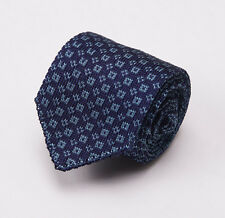 "NWT $195 LUCIANO BARBERA Slim 2.5"" Knit Silk Tie Navy-Sky Blue Pattern"