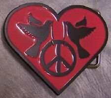 Pewter Belt Buckle novelty Peace Heart NEW