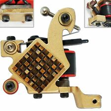 Gold Liner Tattoo Machine shader gun 10 Wrap Coils needle supply grip tip bronze