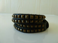 Mens/Womens black leather bracelet/wrist band, L 37-39cm, Postage is Free, NWT