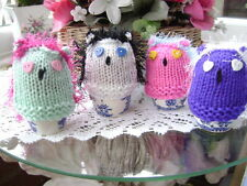 New Hand Knitted Set of 4 Owl Egg Cosies
