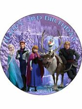"""Disney Frozen Personalised 7.5"""" Birthday Cake Topper on Icing BLUE C2"""