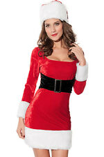 Women's Sexy Mrs Claus Christmas Fancy Dress Costume with Hat