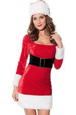 Donna Sexy Signora Claus Natale Fancy Dress Costume con Cappello