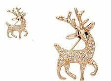 Sparkly Crystal Encrusted Gold plated Christmas Prancing Reindeer Brooch