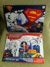 NEW DC JUSTICE LEAGUE & SUPERMAN POSTER ART SETS 4 COLOR POSTERS 2 JUMBO STICKER