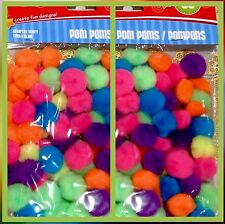 2 X 80 NEON POM POMS 1 In Round CRAFTS SCRAPBOOK CARDS SEWING ARTS 160 Total