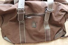 "PERRY ELLIS COLLAPSIBLE BROWN POLYESTER NYLON DUFFLE TRAVEL GYM BAG 18"" x 15"""