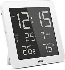 Braun Radio Controlled Digital Wall Clock - White BNC014WH-RC