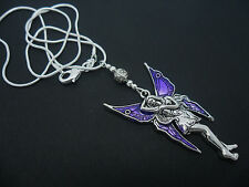 A LOVELY TIBETAN SILVER  LARGE PURPLE FAIRY/ANGEL   NECKLACE.  NEW.