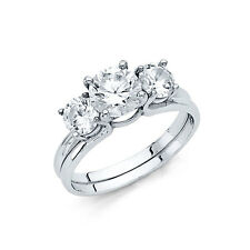 2 Ct Round Cut 2 Piece Engagement Wedding Ring Band Set Solid 14K White Gold
