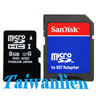 OEM 8GB 8G Class 10 Micro SD Micro SDHC TF Flash Memory Card + SanDisk Adapter