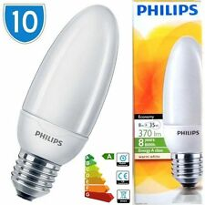 10 x Philips Candle Bulbs Light Bulb 8w = 35w E27 CFL Lamps Low Energy CFL Bulbs