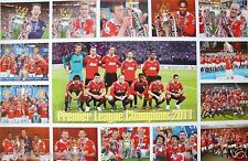 """MANCHESTER UNITED """"COLLAGE OF 2011 PREMIER CHAMPIONS CELEBRATING""""FOOTBALL POSTER"""