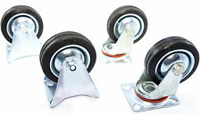 """3"""" (75mm) Rubber Swivel Castors x 2 &  Fixed Castors x 2  TZ   RM006 RM007"""