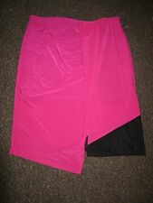 BNWT River Island Skirt UK 18 Hot Pink Black Drape Sheer Mesh Asymmetrical Dress