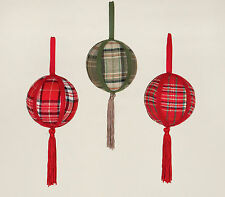 3 x Large Fabric Tartan Christmas Tree Baubles Hanging Decorations with Tassel