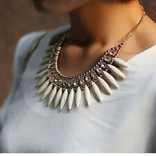 Gold Plated Chain White Gem Beads Charm Choker Collar Necklace Pendant Statement