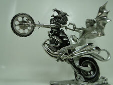 Statue Dragon Biker Fairy Pewter Sculpture Figure Figurine Art Fantasy Chick