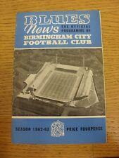 27/10/1962 Birmingham City v Aston Villa (arrugada, doblada, sucio en el interior). Trus
