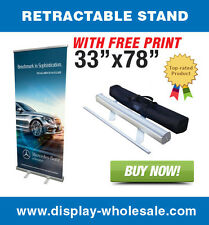 "33"" Retractable Roll up banner stand + free vinyl print"