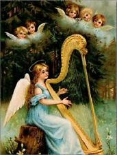 """+""""Angel Plays The Harp"""" /with 5 Angels Looking On/ ~Post Card~"""