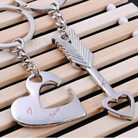 2pcs Love Heart Key Ring Keyfob Couples Romantic Keychain Valentine's Day Gift