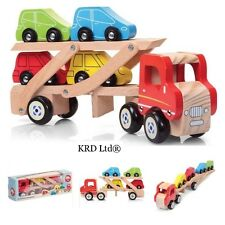 Kids WOODEN CAR TRANSPORTER Baby Toddler Carrier Wood Toy Truck Christmas Gift