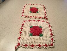 Vintage Crochet Potholders Pair Of Two Red and White W/ Large Raised Red Rose
