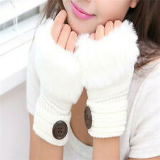 New Fur Knitted Fingerless Mittens Winter Warm Gloves Wool Wrist  Ladies 14cm