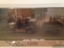 Jeep Willys MB with Trailer US Army WWII New 1:43 Scale Model on Base
