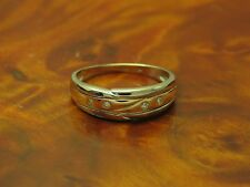 14kt 585 GOLD BICOLOR RING MIT BRILLANT BESATZ / BRILLANTRING / 3,2g / RG 58