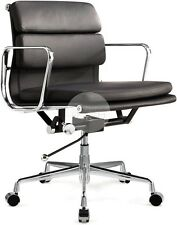 Replica Eames Soft Pad Management Office Chair - Low Back Black Italian Leather