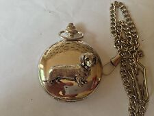 D12 Dachshund  polished silver case mens GIFT quartz pocket watch fob