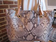 MICHAEL KORS  JET SET Python Snakeskin Embossed Leather Tote Shoulder Bag Sand