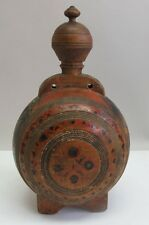Rare EARLY AMERICAN 19th C. Polychrome Wood Bottle Canteen  c. 1820  antique box