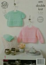 KNITTING PATTERN Baby Round Neck Lace Hem Jumpers and Hat DK King Cole 4395