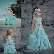 Holiday Casual Pageant Party Flower Girls Dress  Weddings Beaded Kids TUTU Dress