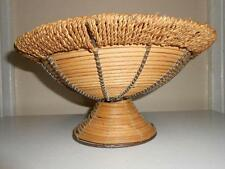 Woven Coil Footed Basket Bowl - Wire/Copper Trim