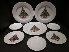 Sea Gull 8 Piece Fine China Dinnerware Set Christmas Tree Pattern Gold Trim