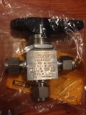"""NEW Swagelok Whitey Stainless SS-44XS6 3-Way Ball Valve 3/8"""" Tube OD MSRP$183.50"""