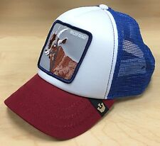 Goorin Bros Hickory Stick Billy Goat Animal Farm Patch Blue/Red Trucker Hat Cap