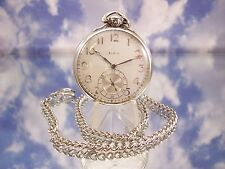Vintage 14K White Gold Filled Elgin Gents Dress pocket Watch with Chain!.NICE!