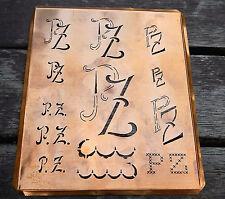 """Monogramm """" PZ """" Wäschemonogramm Wäscheschablone Wäschezeichen 11/13 cm KUPFER"""