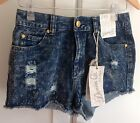 Primark Denim Shorts Acid Wash Ripped Boho Hotpants BNWT Size UK 10