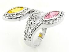 Sterling Silver Cocktail Ring with Cubic Zirconia Size 9