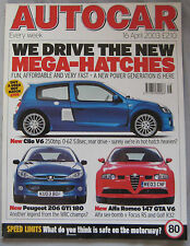 Autocar 16/4/2003 featuring Ford Focus RS, Mini, VW Golf R32, Alfa Romeo 147