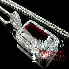 Real Silver Mens Gold Finish Rick Ross Garnet Red Emerald Cut Gemstone Pendant