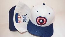 NWT NEW HAT CAP ADJUSTABLE SNAPBACK MARVEL CAPTAIN AMERICA LOGO WHITE BLUE VISOR