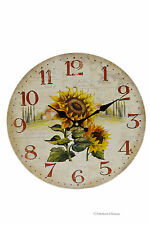 "13"" Sunflower Hanging Wall Clock Flowers Kitchen Home Decor"
